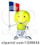 Clipart Of A 3d Happy Yellow Light Bulb Character Holding And Pointing To A French Flag Royalty Free Illustration