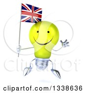 Clipart Of A 3d Happy Yellow Light Bulb Character Jumping And Holding A British Union Jack Flag Royalty Free Illustration