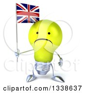 Clipart Of A 3d Unhappy Yellow Light Bulb Character Holding A British Union Jack Flag Royalty Free Illustration