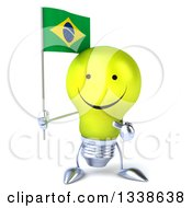 Clipart Of A 3d Happy Yellow Light Bulb Character Holding And Pointing To A Brazilian Flag Royalty Free Illustration