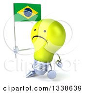 Clipart Of A 3d Unhappy Yellow Light Bulb Character Walking Slightly To The Left And Holding A Brazilian Flag Royalty Free Illustration