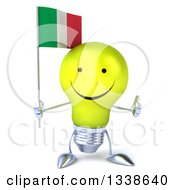 Clipart Of A 3d Happy Yellow Light Bulb Character Holding An Italian Flag And Giving A Thumb Up Royalty Free Illustration
