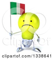 Clipart Of A 3d Unhappy Yellow Light Bulb Character Holding An Italian Flag Royalty Free Illustration