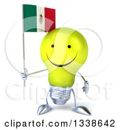 Clipart Of A 3d Happy Yellow Light Bulb Character Holding A Mexican Flag Royalty Free Illustration