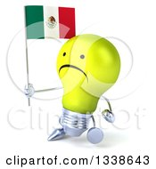 Clipart Of A 3d Unhappy Yellow Light Bulb Character Walking Slightly Left And Holding A Mexican Flag Royalty Free Illustration