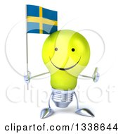 Clipart Of A 3d Happy Yellow Light Bulb Character Holding A Swedish Flag And Giving A Thumb Up Royalty Free Illustration