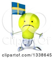 Clipart Of A 3d Unhappy Yellow Light Bulb Character Holding A Swedish Flag And Giving A Thumb Down Royalty Free Illustration