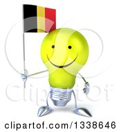 Clipart Of A 3d Happy Yellow Light Bulb Character Holding A Belgian Flag Royalty Free Illustration