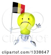 Clipart Of A 3d Unhappy Yellow Light Bulb Character Jumping And Holding A Belgian Flag Royalty Free Illustration