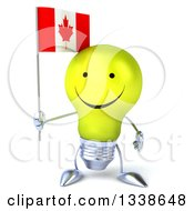Clipart Of A 3d Happy Yellow Light Bulb Character Holding A Canadian Flag Royalty Free Illustration