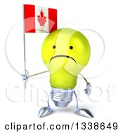 Clipart Of A 3d Unhappy Yellow Light Bulb Character Holding A Canadian Flag Royalty Free Illustration