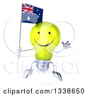 Clipart Of A 3d Happy Yellow Light Bulb Character Holding An Australian Flag And Jumping Royalty Free Illustration