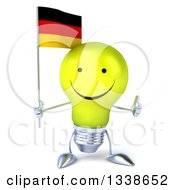 Clipart Of A 3d Happy Yellow Light Bulb Character Holding A German Flag And Giving A Thumb Up Royalty Free Illustration