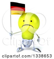 Clipart Of A 3d Unhappy Yellow Light Bulb Character Holding A German Flag Royalty Free Illustration