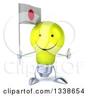 Clipart Of A 3d Happy Yellow Light Bulb Character Holding A Japanese Flag And Giving A Thumb Up Royalty Free Illustration