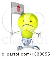Clipart Of A 3d Unhappy Yellow Light Bulb Character Holding A Japanese Flag And Giving A Thumb Down Royalty Free Illustration
