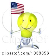 Clipart Of A 3d Happy Yellow Light Bulb Character Holding An American Flag And Giving A Thumb Up Royalty Free Illustration