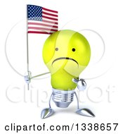 Clipart Of A 3d Unhappy Yellow Light Bulb Character Holding And Pointing To An American Flag Royalty Free Illustration