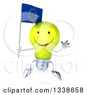 Clipart Of A 3d Happy Yellow Light Bulb Character Holding A European Flag And Jumping Royalty Free Illustration