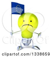 Clipart Of A 3d Unhappy Yellow Light Bulb Character Holding A European Flag And Giving A Thumb Down Royalty Free Illustration