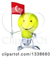 Clipart Of A 3d Happy Yellow Light Bulb Character Holding And Pointing To A Turkish Flag Royalty Free Illustration