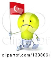 Clipart Of A 3d Unhappy Yellow Light Bulb Character Walking And Holding A Turkish Flag Royalty Free Illustration