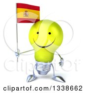 Clipart Of A 3d Happy Yellow Light Bulb Character Holding A Spanish Flag Royalty Free Illustration