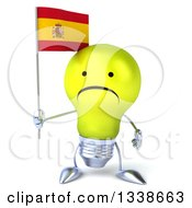 Clipart Of A 3d Unhappy Yellow Light Bulb Character Holding A Spanish Flag Royalty Free Illustration