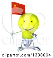 Clipart Of A 3d Happy Yellow Light Bulb Character Holding And Pointing To A Chinese Flag Royalty Free Illustration