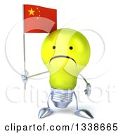 Clipart Of A 3d Unhappy Yellow Light Bulb Character Holding A Chinese Flag Royalty Free Illustration