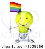 Clipart Of A 3d Happy Yellow Light Bulb Character Holding And Pointing To A Rainbow Flag Royalty Free Illustration