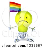 Clipart Of A 3d Unhappy Yellow Light Bulb Character Holding A Rainbow Flag And Giving A Thumb Down Royalty Free Illustration