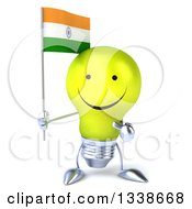 Clipart Of A 3d Happy Yellow Light Bulb Character Holding And Pointing To An Indian Flag Royalty Free Illustration