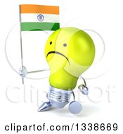 Clipart Of A 3d Unhappy Yellow Light Bulb Character Walking To The Left And Holding An Indian Flag Royalty Free Illustration