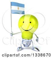 Clipart Of A 3d Happy Yellow Light Bulb Character Holding An Argentine Flag Royalty Free Illustration