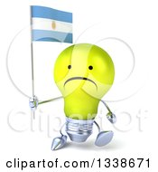 Clipart Of A 3d Unhappy Yellow Light Bulb Character Walking And Holding An Argentine Flag Royalty Free Illustration