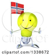 Clipart Of A 3d Happy Yellow Light Bulb Character Holding A Thumb Up And A Norwegian Flag Royalty Free Illustration