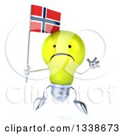 Clipart Of A 3d Unhappy Yellow Light Bulb Character Jumping And Holding A Norwegian Flag Royalty Free Illustration
