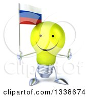 Clipart Of A 3d Happy Yellow Light Bulb Character Holding A Russian Flag And Giving A Thumb Up Royalty Free Illustration