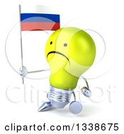 Clipart Of A 3d Unhappy Yellow Light Bulb Character Walking Slightly Left And Holding A Russian Flag Royalty Free Illustration
