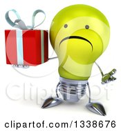 Clipart Of A 3d Unhappy Yellow Light Bulb Character Shrugging And Holding A Gift Royalty Free Illustration