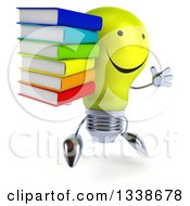 Clipart Of A 3d Happy Yellow Light Bulb Character Facing Slightly Right Jumping And Holding A Stack Of Books Royalty Free Illustration