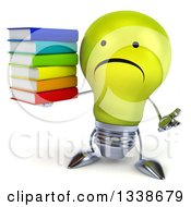 Clipart Of A 3d Unhappy Yellow Light Bulb Character Shrugging And Holding A Stack Of Books Royalty Free Illustration