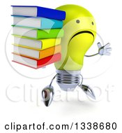 Clipart Of A 3d Unhappy Yellow Light Bulb Character Facing Slightly Right Jumping And Holding A Stack Of Books Royalty Free Illustration