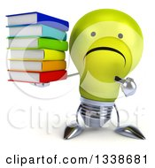 Clipart Of A 3d Unhappy Yellow Light Bulb Character Holding And Pointing To A Stack Of Books Royalty Free Illustration