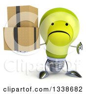 Clipart Of A 3d Unhappy Yellow Light Bulb Character Giving A Thumb Down And Holding Boxes Royalty Free Illustration