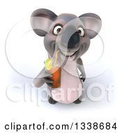 Clipart Of A 3d Koala Looking Up And Drinking A Beverage Royalty Free Illustration