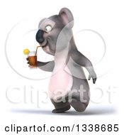 Clipart Of A 3d Koala Drinking A Beverage And Walking To The Left Royalty Free Illustration