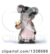Clipart Of A 3d Koala Wearing Sunglasses And Holding A Beverage Royalty Free Illustration