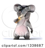 Clipart Of A 3d Koala Wearing Sunglasses And Eating A Waffle Ice Cream Cone Royalty Free Illustration by Julos